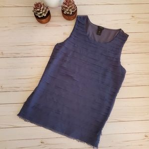 Ann Taylor Muted Blue Ruffle Tank Top Size L